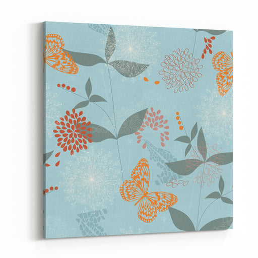 Vector Seamless Pattern Of Flowers, Leaves And Butterflies Canvas Wall Art Print