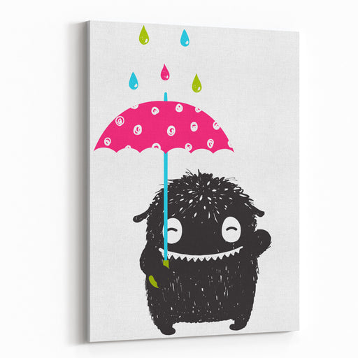 Monster For Kids With Umbrella Under Colorful Rain Drops Happy Funny Childish Little Monster With Umbrella In The Rain For Children Cartoon Illustration Vector Drawing Canvas Wall Art Print