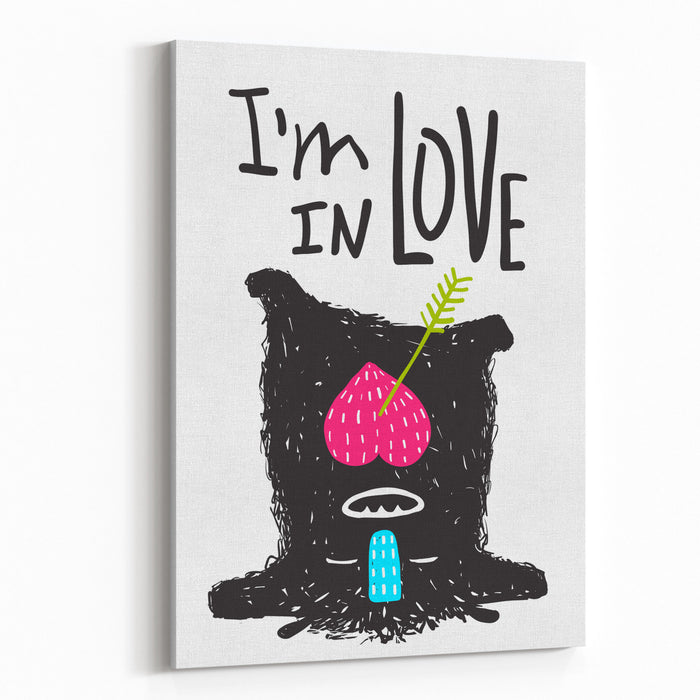Fun Monster In Love Happy Upsidedown Cartoon For Kids Happy Funny Little Monster Loving For Children Cartoon Illustration Greeting Card Vector Drawing Canvas Wall Art Print