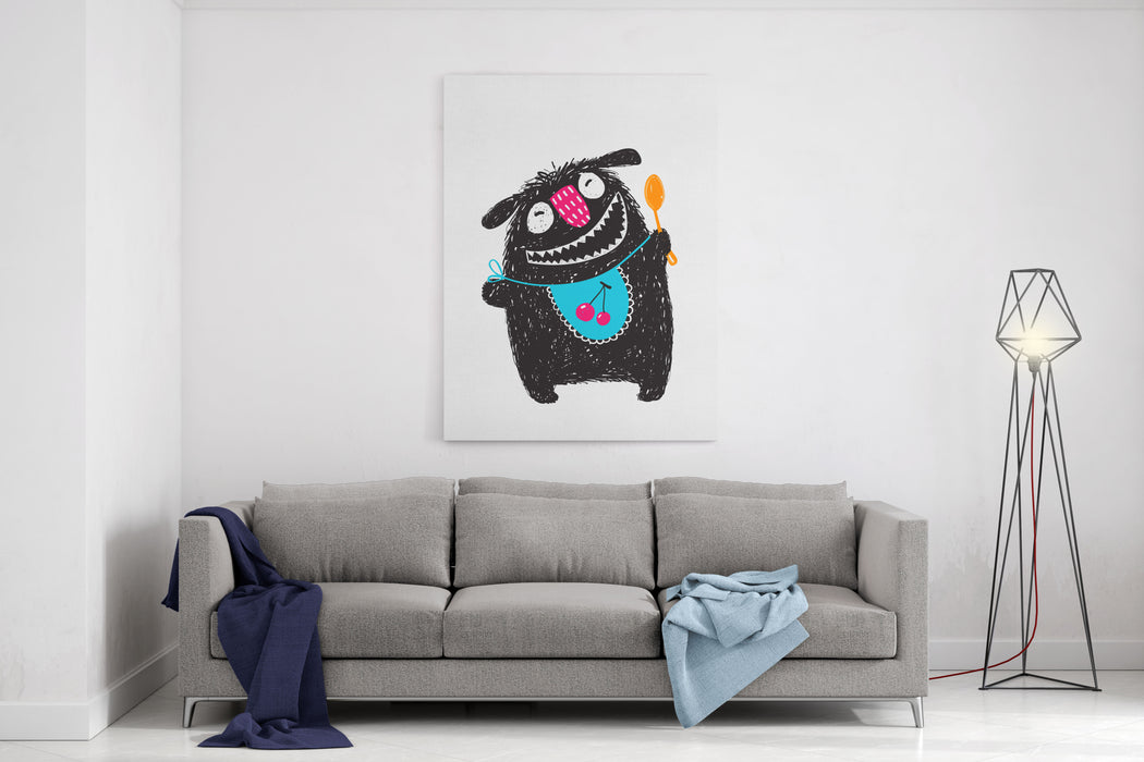 Fun Happy Cute Kids Monster Hungry Ready To Eat Happy Funny Little Monster With A Spoon And Bib And Big Mouth For Children Cartoon Illustration Vector Drawing Canvas Wall Art Print