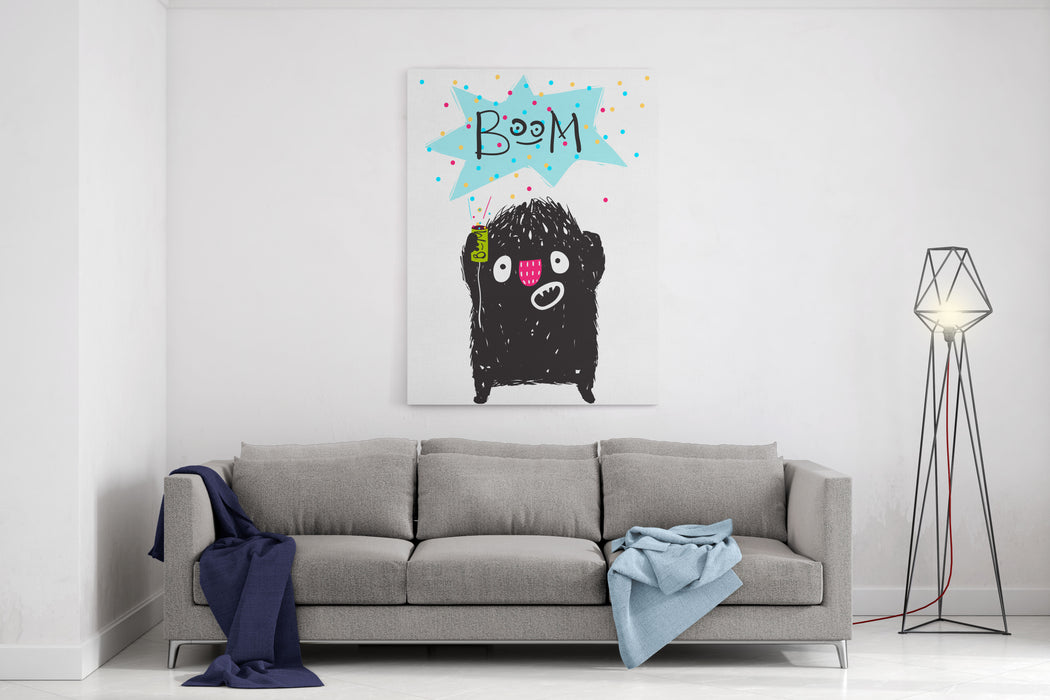 Fun Naughty Monster Playing With Petard Cartoon For Kids Happy Misbehave Funny Little Monster Is Afraid Of Cracker Boom Playing Children Cartoon Illustration Vector Drawing Canvas Wall Art Print