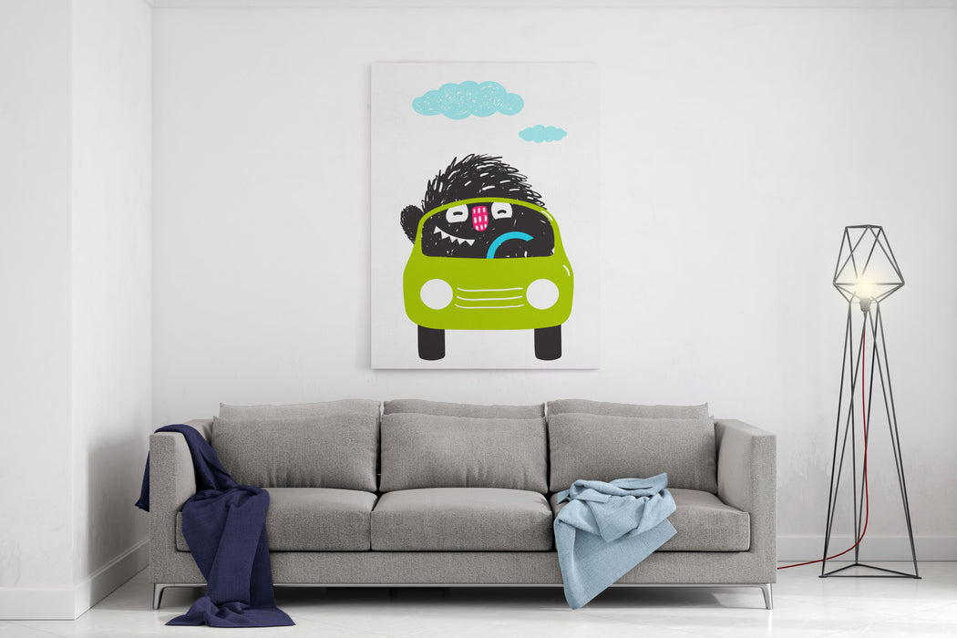 Fun Monster Driving Car Cartoon For Kids Happy Funny Little Monster In Action For Children Cartoon Illustration Vector Drawing Canvas Wall Art Print