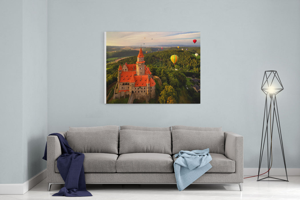 Aerial View On Romantic Fairy Castle With Group Hot Air Balloons In Picturesque Landscape Lit By Evening Sun Moravia, Czech Republic Canvas Wall Art Print
