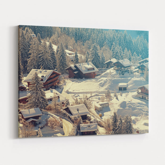 A Quaint Village In The Swiss Alps During Winter Added Vintage Filter Canvas Wall Art Print
