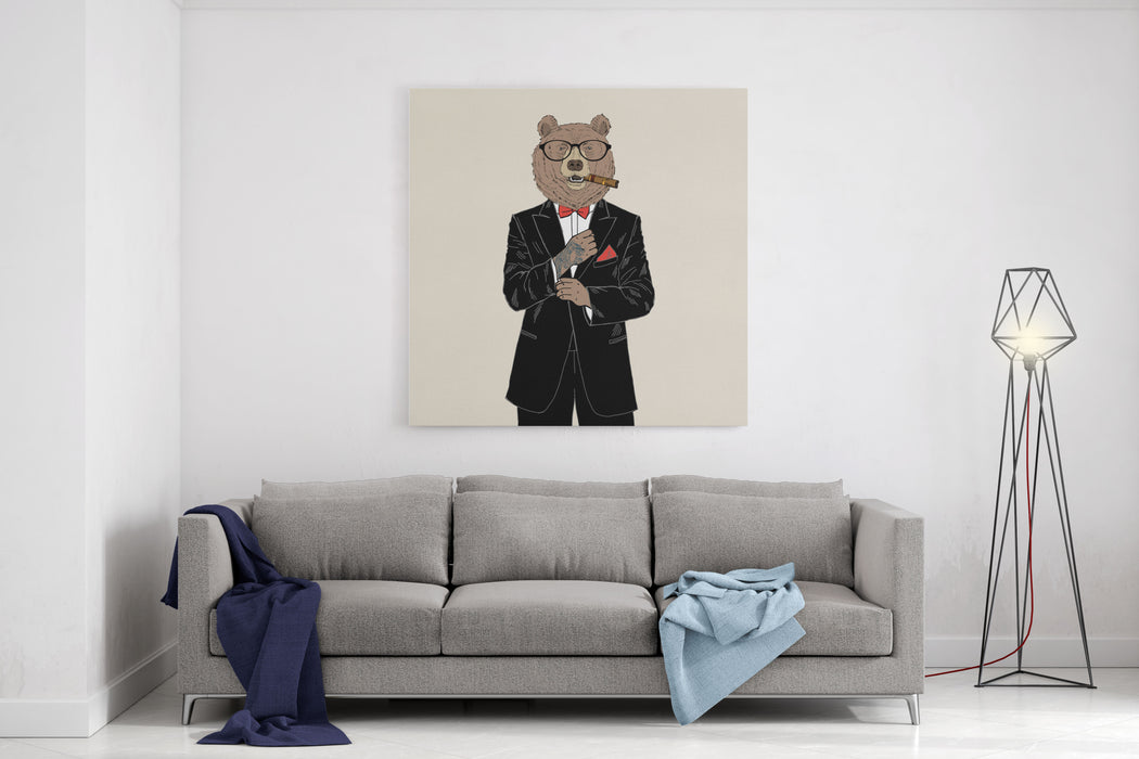 Brown Bear Dressed Up In Tuxedo, Anthropomorphic Illustration, Fashion Animals Canvas Wall Art Print