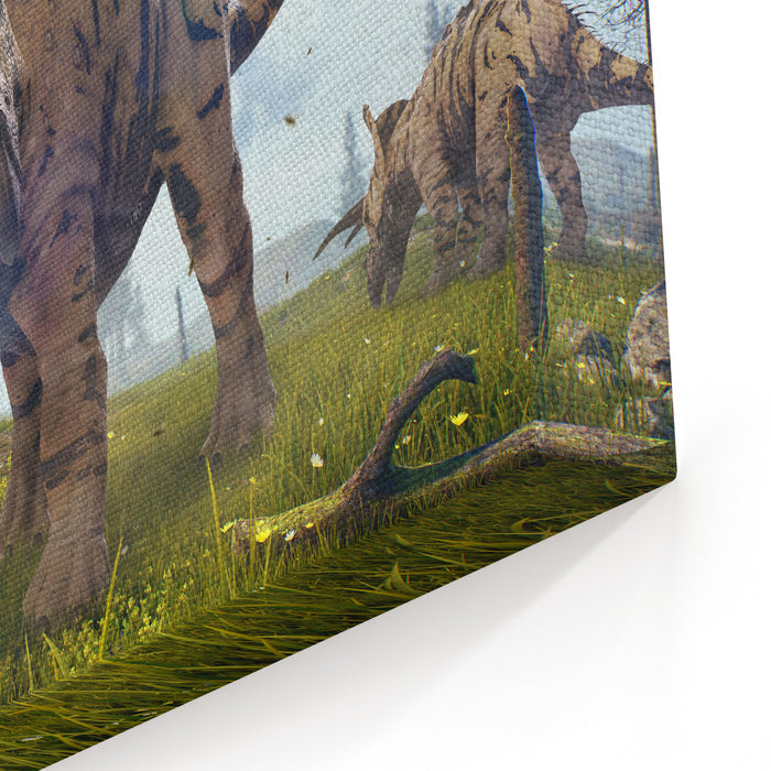 D Rendering Of Triceratops Horridus In Hell Creek About  Million Years Ago Canvas Wall Art Print