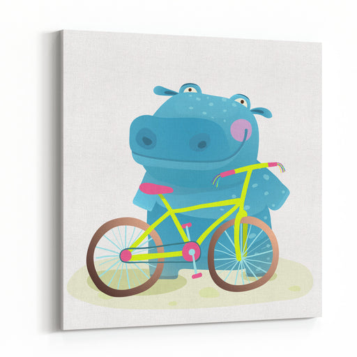 Kid Cute Hippo With Bicycle Childish Cartoon Happy Fun Wild Animal Doing Sport For Children Illustration Vector Drawing Canvas Wall Art Print