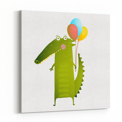 Kids Watercolor Style Crocodile With Balloons Colorful Cartoon Happy Fun Watercolor Style Animal Congratulation For Children Cartoon Illustration Vector Drawing Canvas Wall Art Print