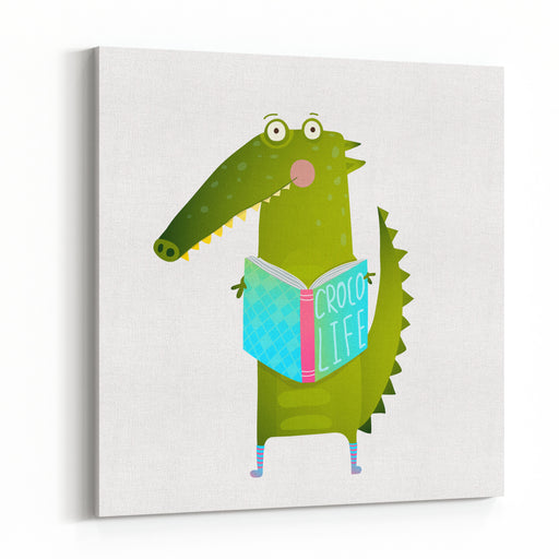Childish Student Crocodile Reading Book And Study Happy Fun Watercolor Style Animal Education For Children Cartoon Illustration Vector Drawing Canvas Wall Art Print