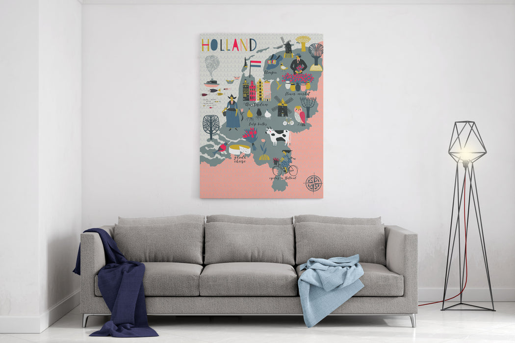 Cartoon Map Of Holland With Legend Icons Canvas Wall Art Print