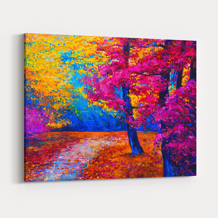 Original Oil Painting Landscape  Colorful Autumn Trees Modern Impressionism Canvas Wall Art Print