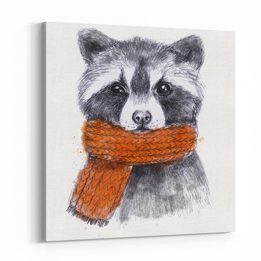 Cute Raccoon With Scarf , Sketchy Style Autumn Cozy Illustrations With Warm Colors Perfectly For Your Tshirts Or Sweatshirts Design Canvas Wall Art Print