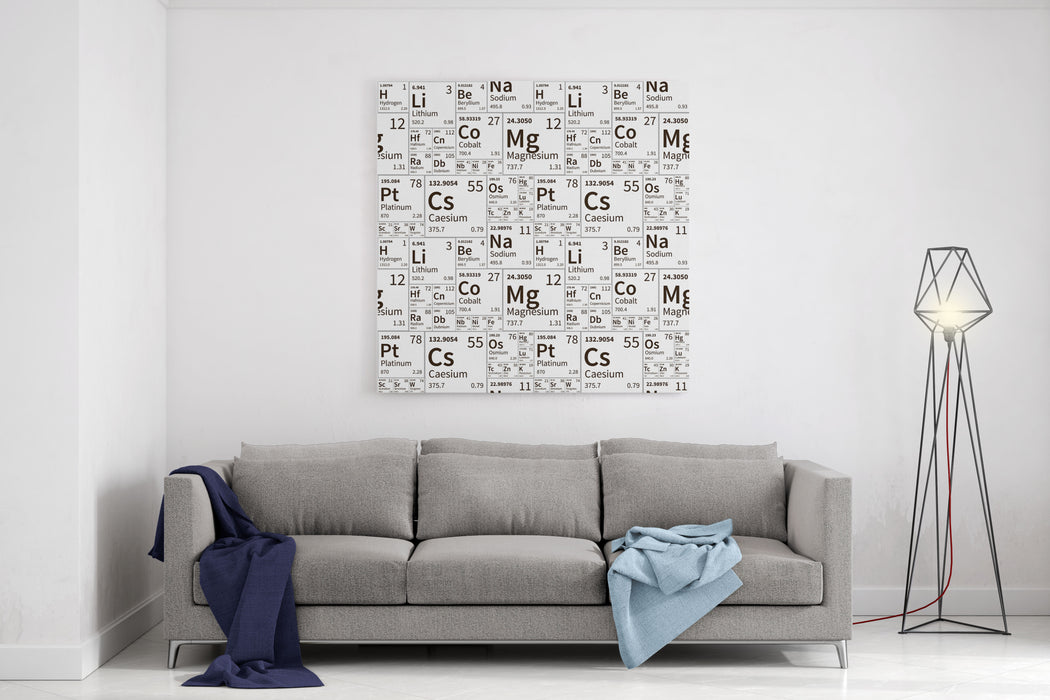 A Lot Of Chemical Elements From Periodic Table, Black And White Seamless Pattern Canvas Wall Art Print