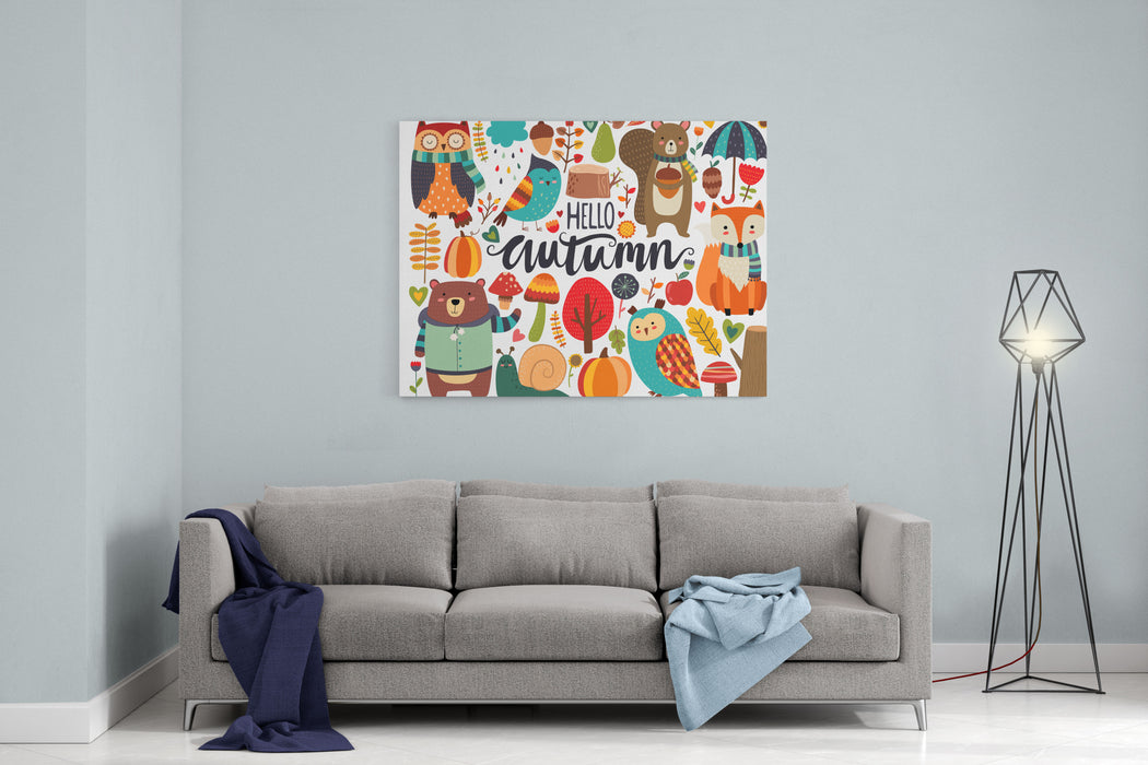 Cute Autumn Woodland Animals And Fall Floral Forest Design Elements Canvas Wall Art Print