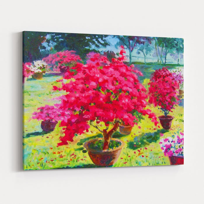 Painting Oil Color Landscape Original Colorful Of Paper Flower Tree And Emotion At The Garden  In The Sky Background Canvas Wall Art Print