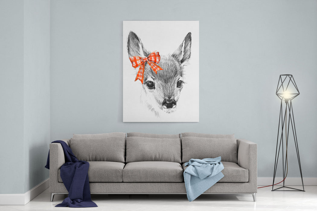 Cute Deer Pencil Sketch Of Fawn Animal Illustration Tshirt Design Canvas Wall Art Print