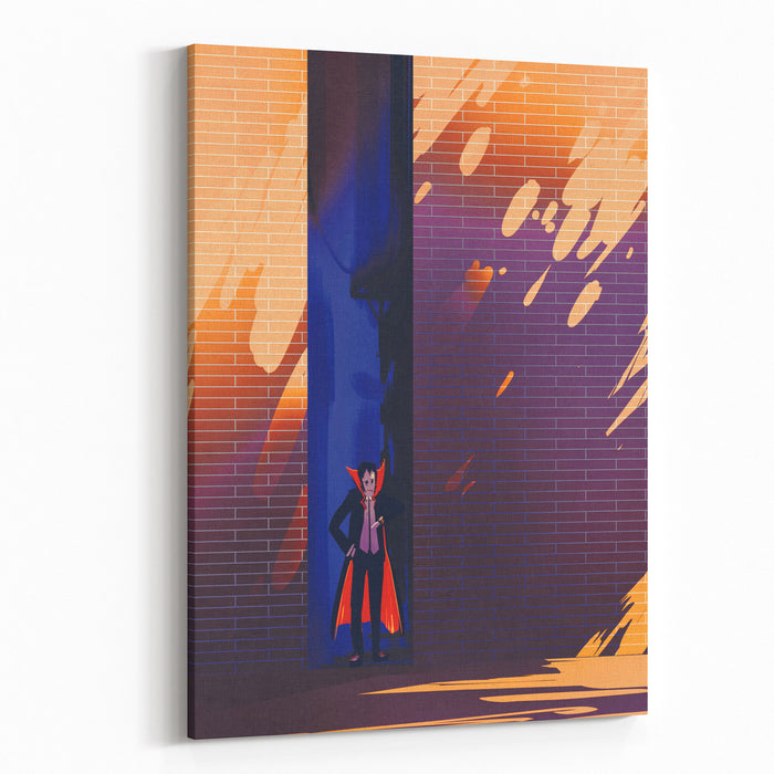 Dracula Hiding In Narrow Alley From Burning Sun,late In Morning,illustration Painting Canvas Wall Art Print