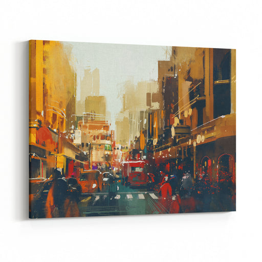 Urban City Street With Grunge Texture,illustration Painting Canvas Wall Art Print