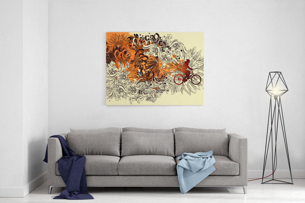 Abstract Autumn Concept With Floral Line Art And Man Ride A Bicycle,illustration Painting Canvas Wall Art Print