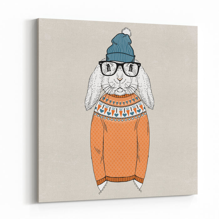 Bunny Dressed Up In Jacquard Pullover, Anthropomorphic Illustration, Fashion Animals Canvas Wall Art Print