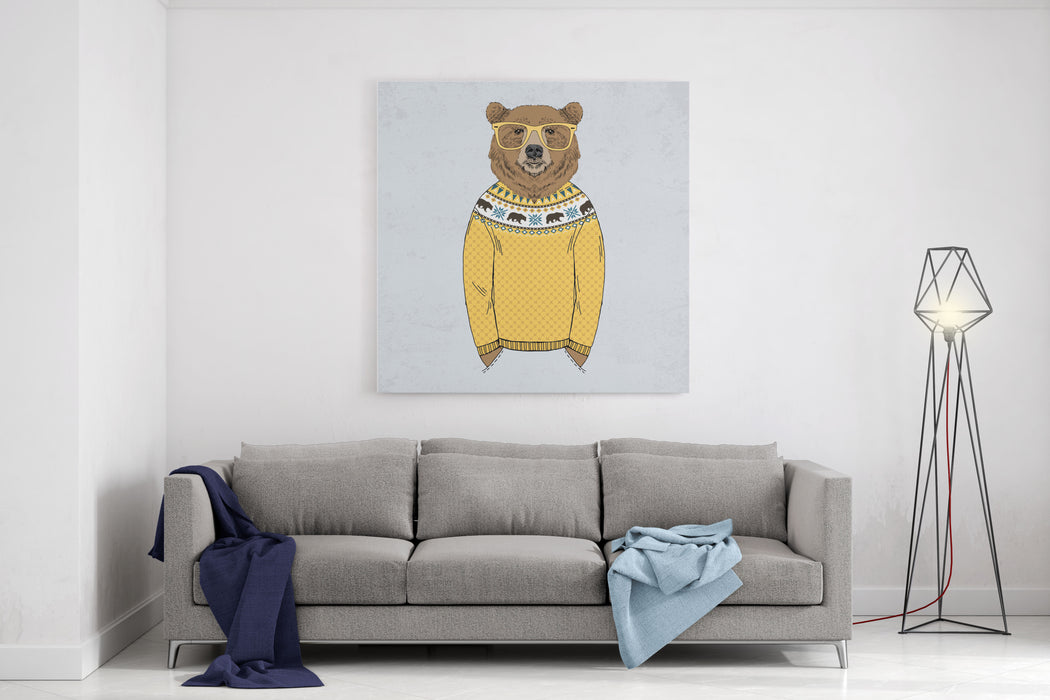 Bear Dressed Up In Jacquard Pullover, Anthropomorphic Illustration, Fashion Animals Canvas Wall Art Print