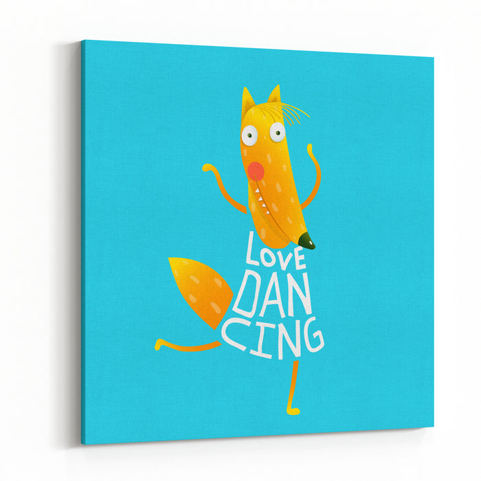 Smiling Orange Fox In Blue Dress Dancing With Text  Love Dancing Hand Drawn Style Cartoon Character For Children Vector Illustration Canvas Wall Art Print