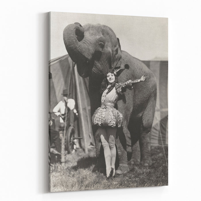 Circus Performer Posing With Elephant Canvas Wall Art Print