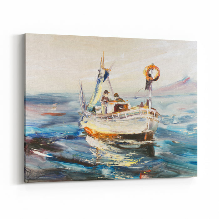 Fishing Schooner Seascape, Fishermen At Cold Sea, Cold Waves, Pacific Ocean Oil On Canvas, Modern Art, Watercolor Painting, Modern Contemporary Art Canvas Wall Art Print