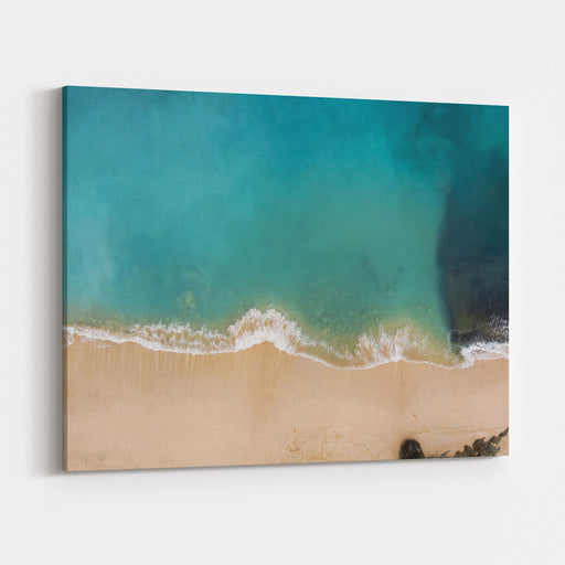 Top View Aerial Photo From Flying Drone Of Beauty Nature Landscape With Paradise Beach And Indian Ocean In Summer Day In Bali Amazing Seascape With Small Waves Perfect Background For Travel Website Canvas Wall Art Print
