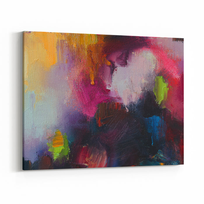 Abstract Oil Painting Background Oil On Canvas Texture Hand Drawn Oil PaintingColor Texture Fragment Of Artwork Brushstrokes Of Paint Modern Art Contemporary Art Colorful Canvas Dark Blue Canvas Wall Art Print