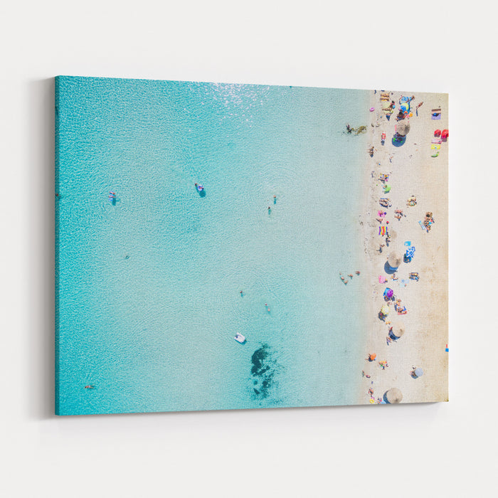 Aerial View Of Sandy Beach With Tourists Swimming In Beautiful Clear Sea Water Canvas Wall Art Print