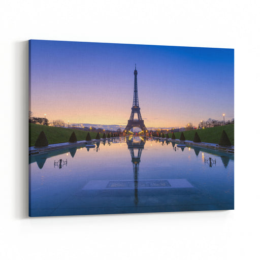 Frozen Reflections In Paris, France Eiffel Tower At Sunrise From Trocadero Fountains Canvas Wall Art Print