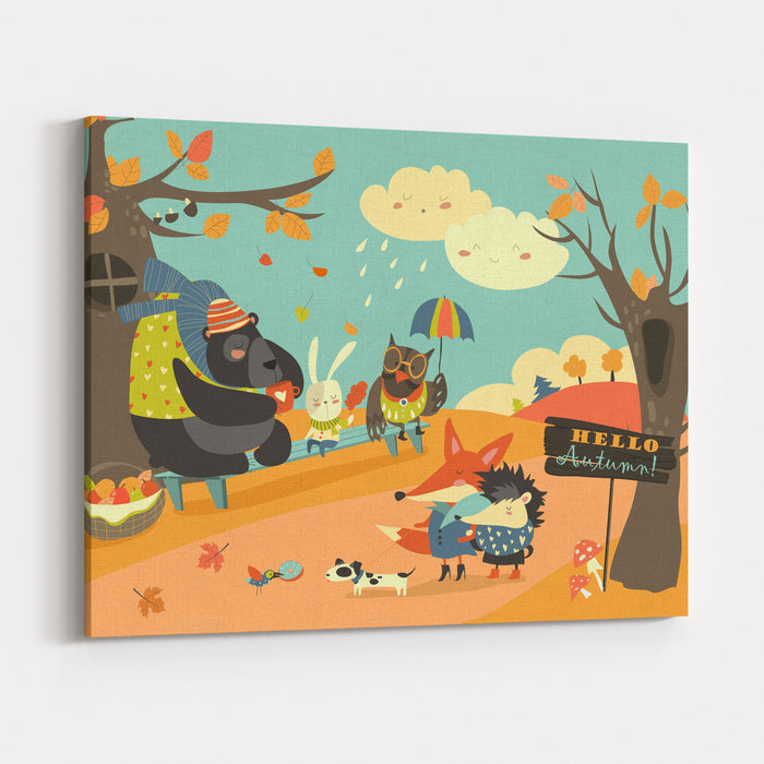 Cute Animals Walking In Autumn Forest Canvas Wall Art Print