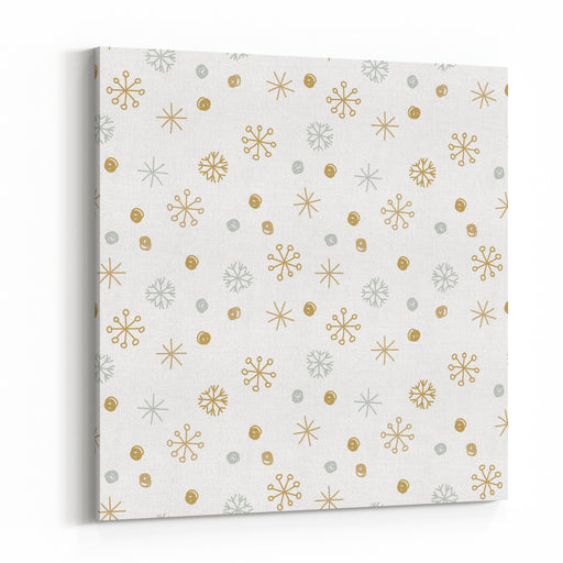 Vector Seamless Winter Pattern Background With Sikver And Gold Snowflakes Can Be Used For Textile, Parer, Scrapbooking, Wrapping, Web And Print Design Canvas Wall Art Print