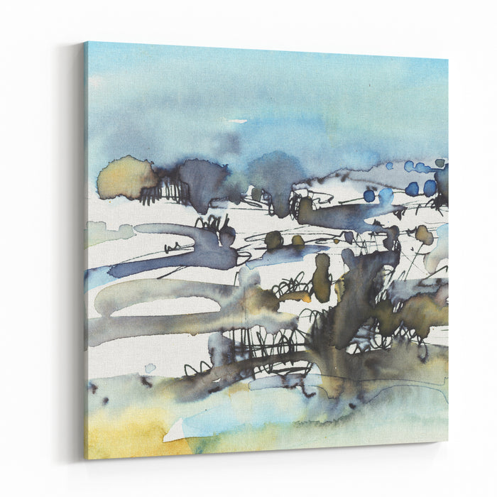 Abstract Landscape, Painting Watercolor Art Background Canvas Wall Art Print