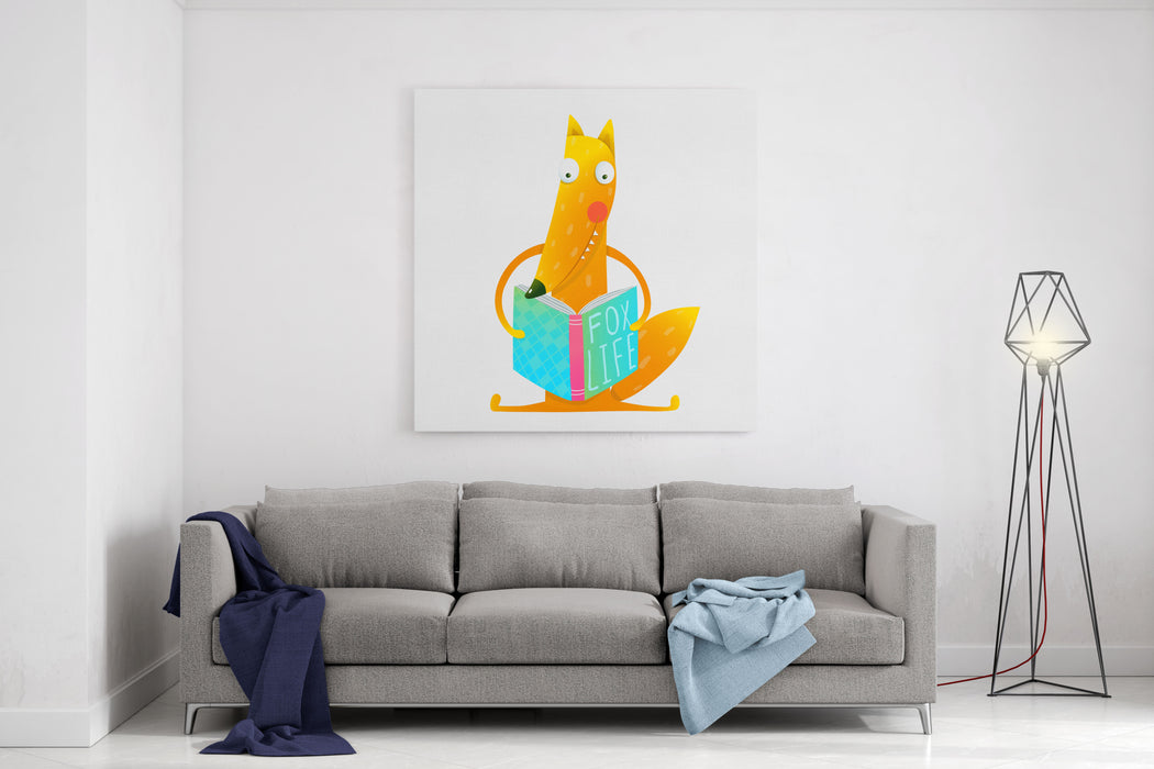Cute Red Fox Sitting And Reading Book  Fox Life Wildlife Brightly Colored Hand Drawn Watercolor Style Picture On White Background Vector Illustration Canvas Wall Art Print