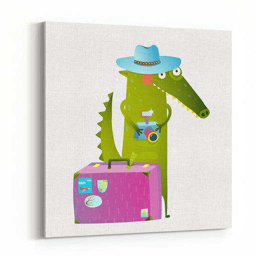 Cute Green Crocodile Tourist With Blue Hat, Suitcase And Camera Funny Wildlife Cartoon Characters For Children Animals Greeting Cards And Other Projects Vector Illustration In Bright Colors Canvas Wall Art Print