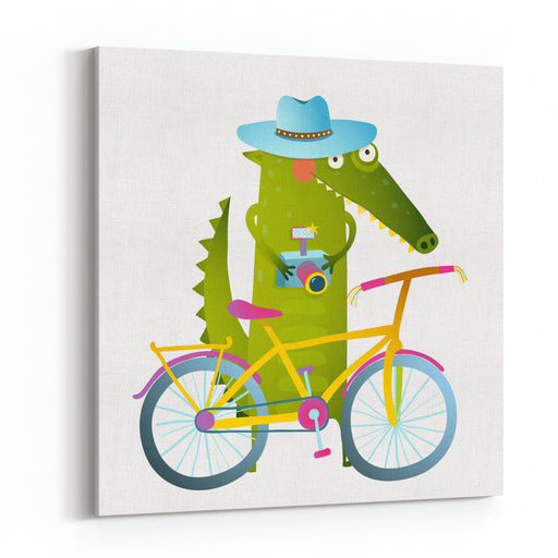 Cyclist Crocodile Tourist With Blue Hat, Suitcase And Camera Funny Wildlife Drawing Cartoon Characters For Children Vector Hand Drawn Illustration In Vivid Colors Canvas Wall Art Print