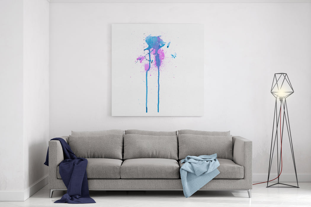 Colorful Abstract Watercolor Texture With Splashes And Spatters And Drips Modern Creative Watercolor Background For Trendy Design Canvas Wall Art Print