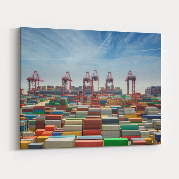 China, Shanghai Harber Container Box, For Lojistic, Transportation, Delivery And Import And Export Job, Shanhai Tranfer Container Box To Singapore Hub Canvas Wall Art Print