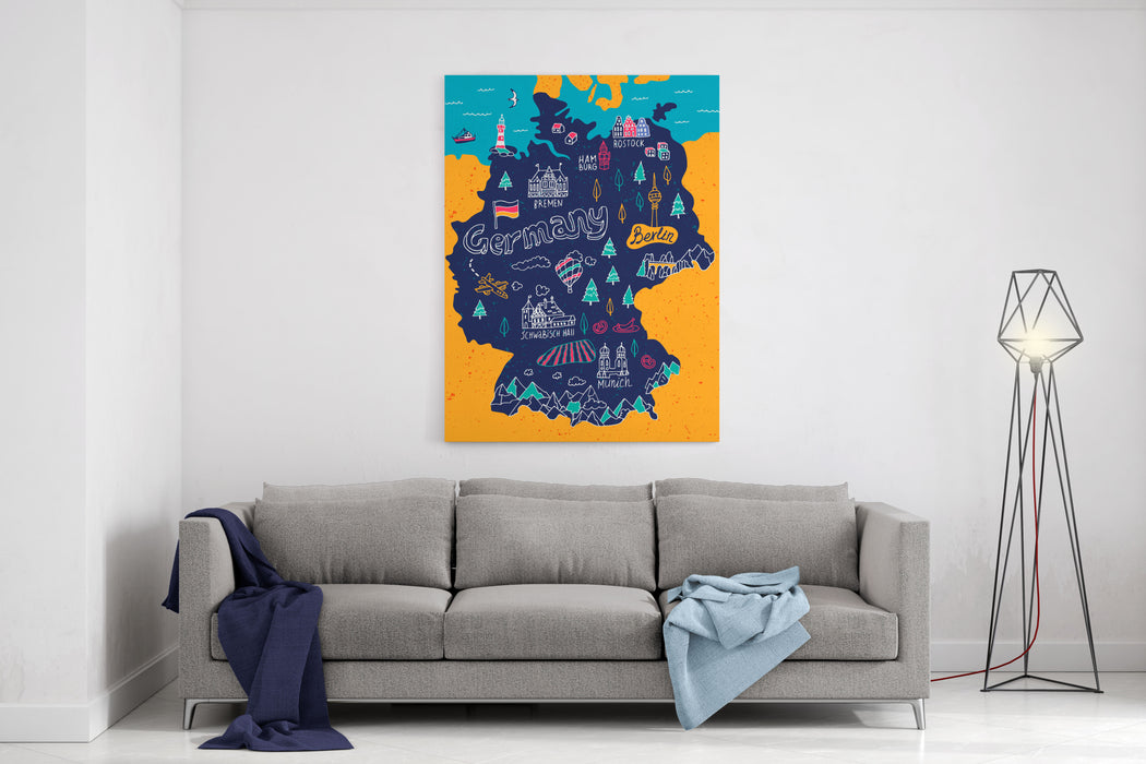 Illustrated Map Of Germany Canvas Wall Art Print
