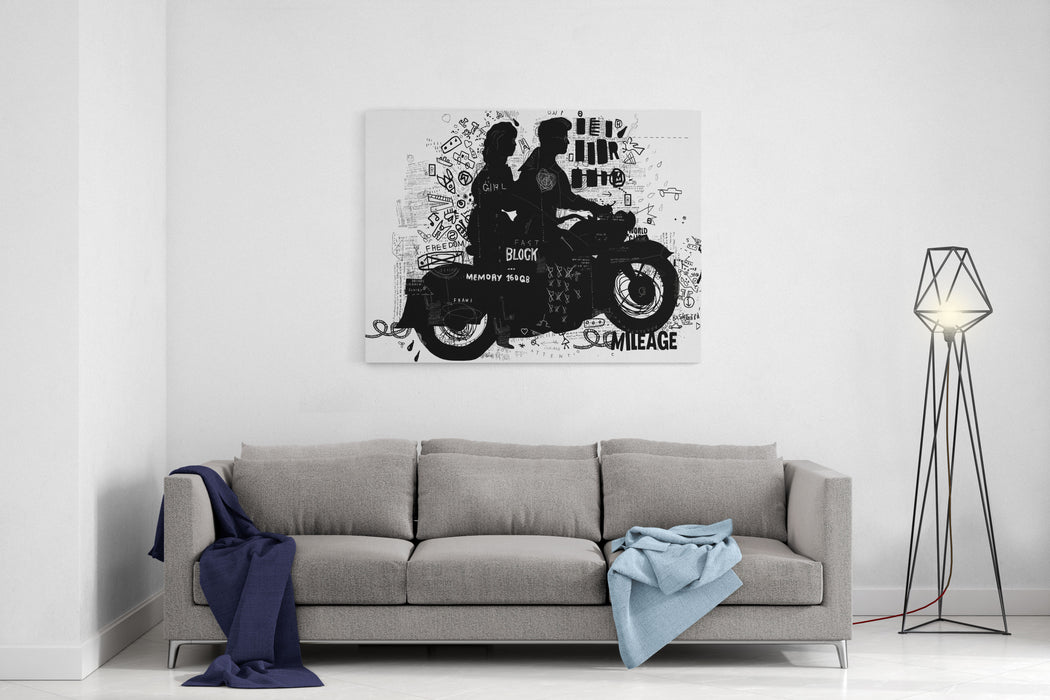 The Symbolic Image Of The Motorcycle On Which The Man And Woman Canvas Wall Art Print