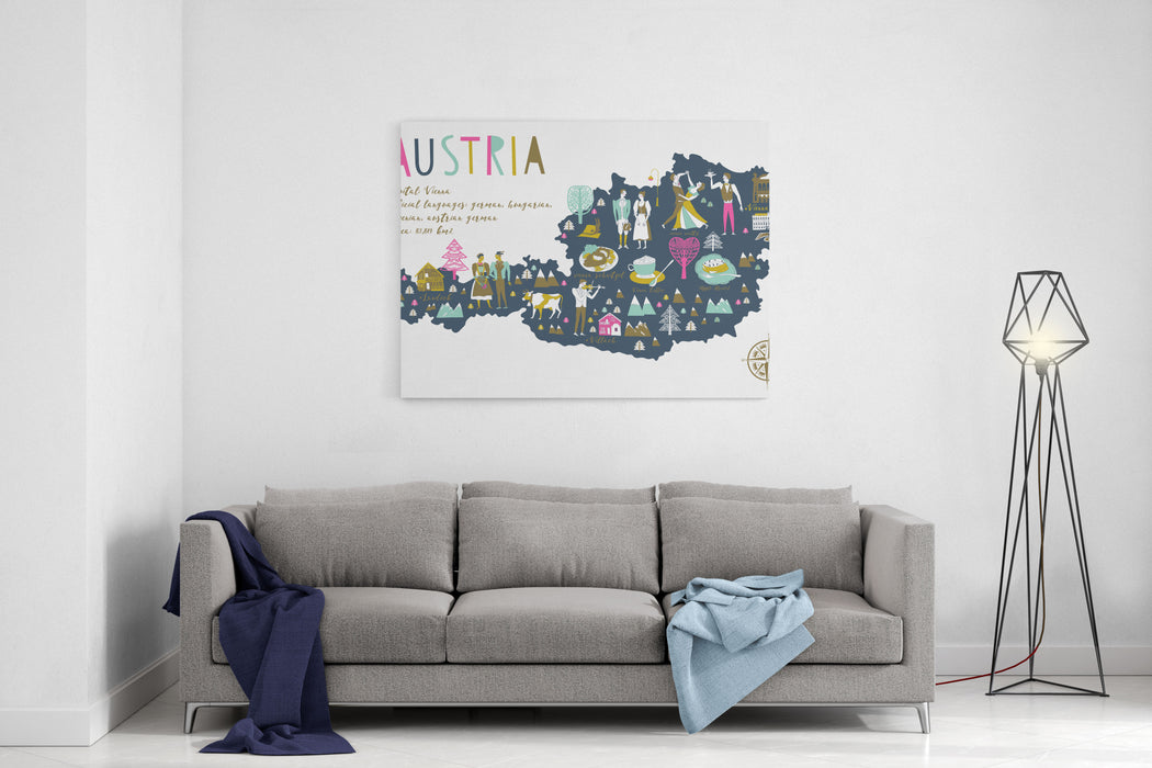 Cartoon Map Of Austria With Legend Icons Canvas Wall Art Print