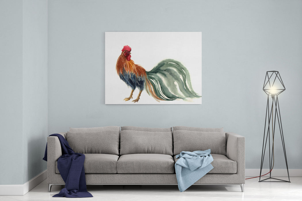 Watercolor Rooster Farm Animals Silhouette  Sketch Wildlife Art Illustration Vintage Graphic For Fabric, Postcard, Greeting Card, Book, Poster, Teeshirt, Calendar Happy New Year Canvas Wall Art Print