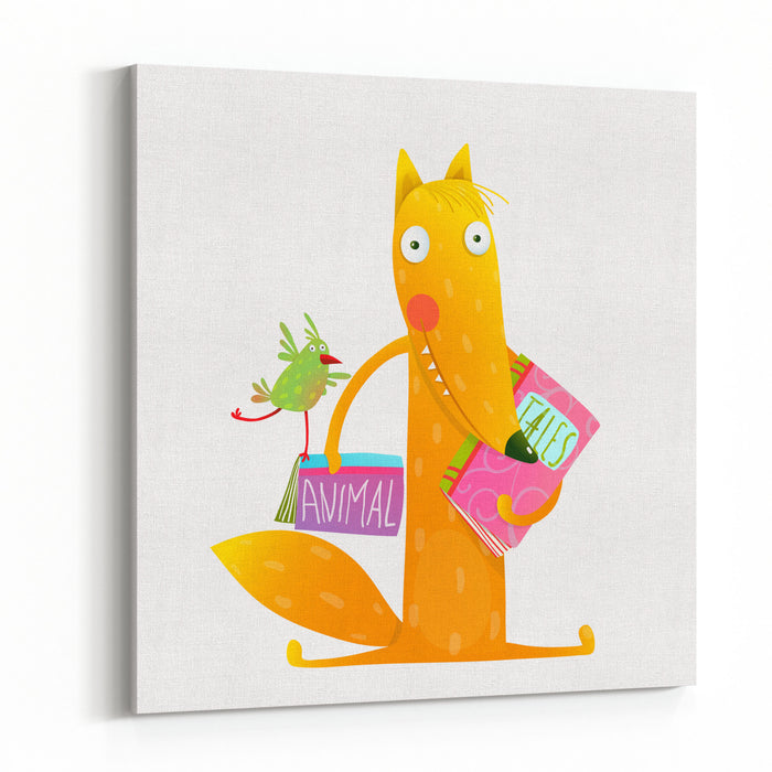 Cartoon Fox Reading Books With Bird Friend Cute Red Fox And Birdie Sitting And Reading Books Wildlife Brightly Colored Hand Drawn Watercolor Style Picture On White Background Vector Illustration Canvas Wall Art Print