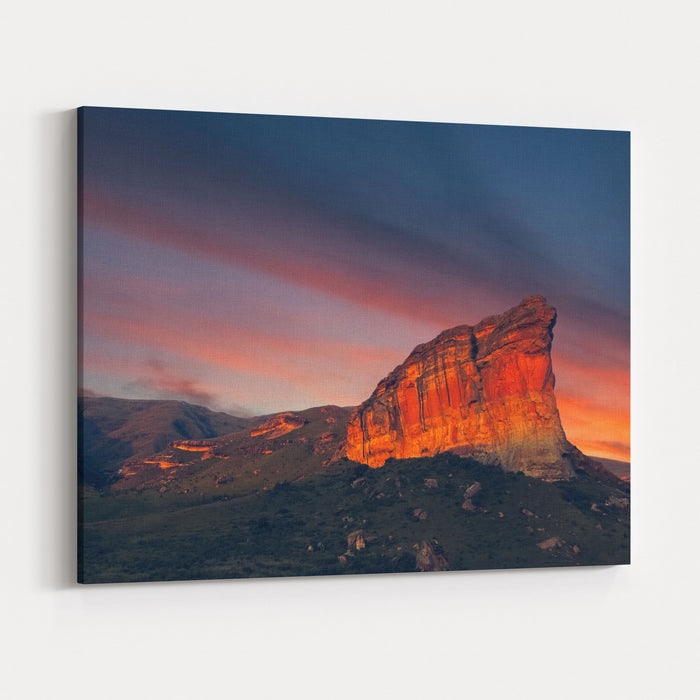 Clarens Golden Gate National Park Landscape At Sunset, Free State, South Africa Brandwag Rock Canvas Wall Art Print