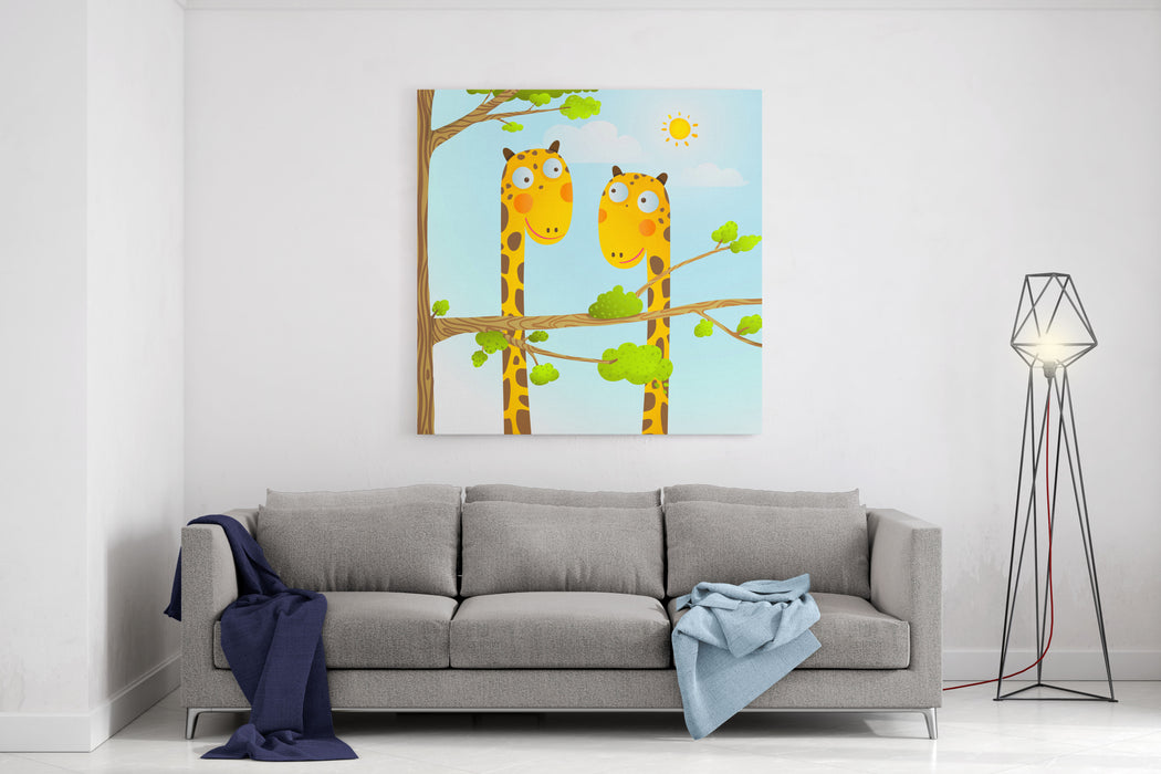 Fun Cartoon Baby Giraffe Animals In Wild For Kids Drawing Funny Friends Giraffes Cartoon In Nature Or Zoo With Trees Background For Children Wildlife Childish Illustration Raster Variant Canvas Wall Art Print
