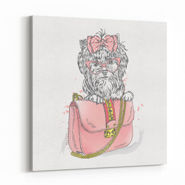 A Beautiful Dog And Beautiful Handbag Clutch Yorkshire Terrier Vector Illustration For Greeting Card, Poster, Or Print On Clothes Fashion  Style Vintage Canvas Wall Art Print