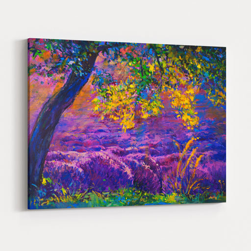 Oil Painting Landscape  Autumn Forest, Bright Yellow Leavespurple Lavender Canvas Wall Art Print