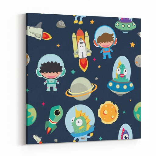 Kids Space Seamless Pattern Canvas Wall Art Print